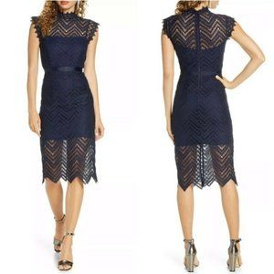 Bardot NEW Navy Lace Sheath Party Midi Dress 10 L